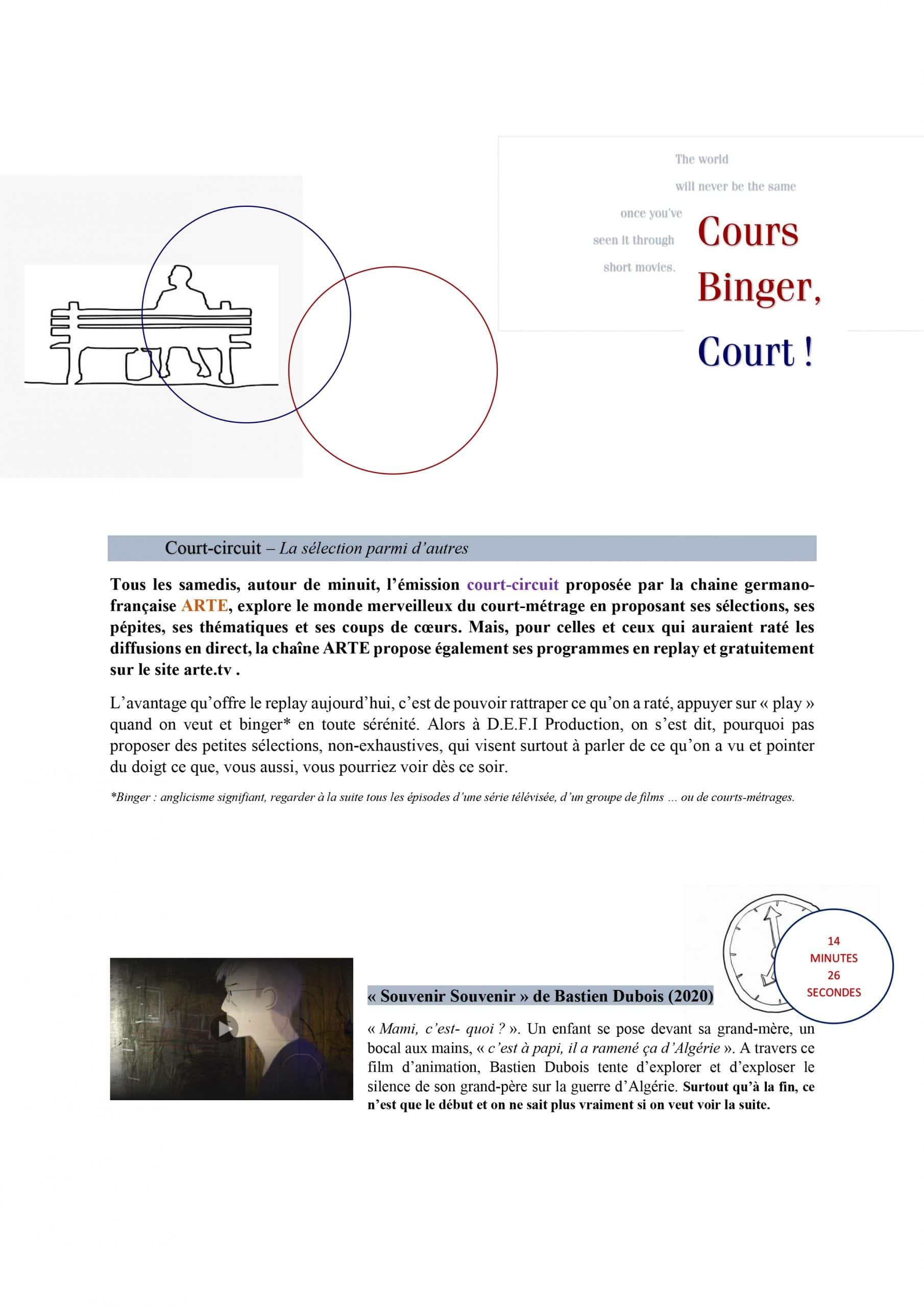 Cours Binger, Court – sélection du mois d'Août 2021_p1